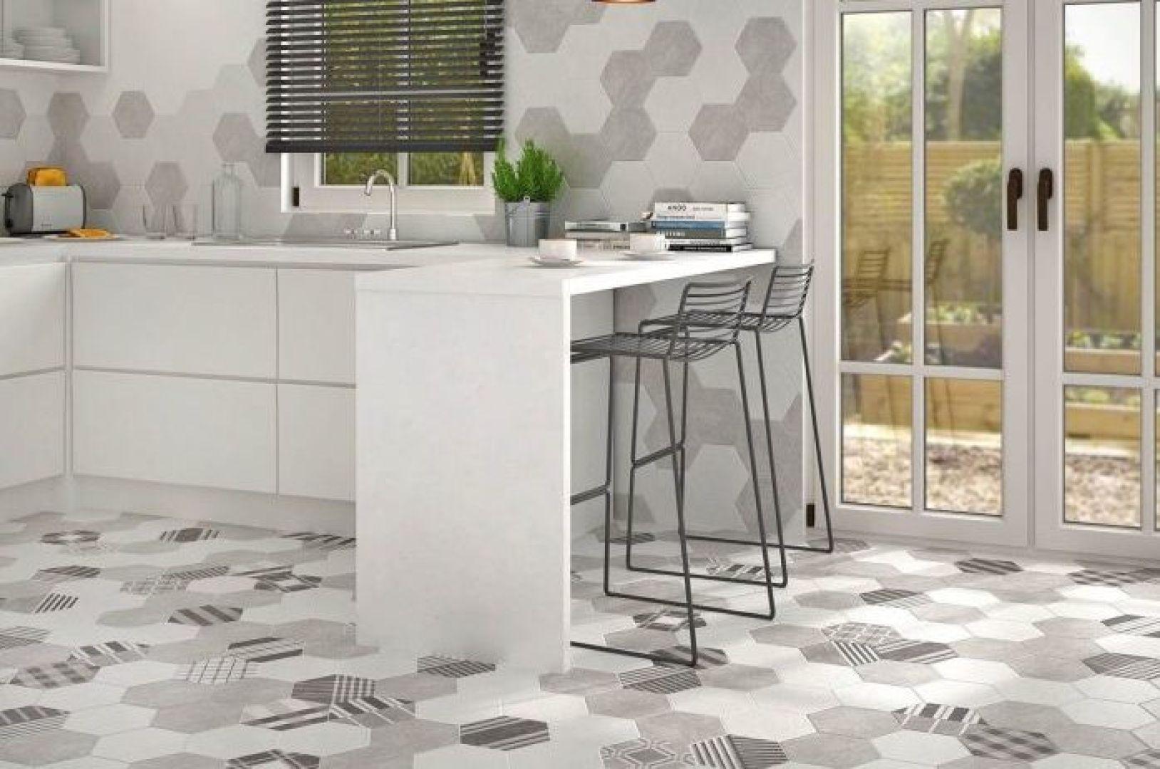 gạch ốp tường bếp - mosaic lục giác