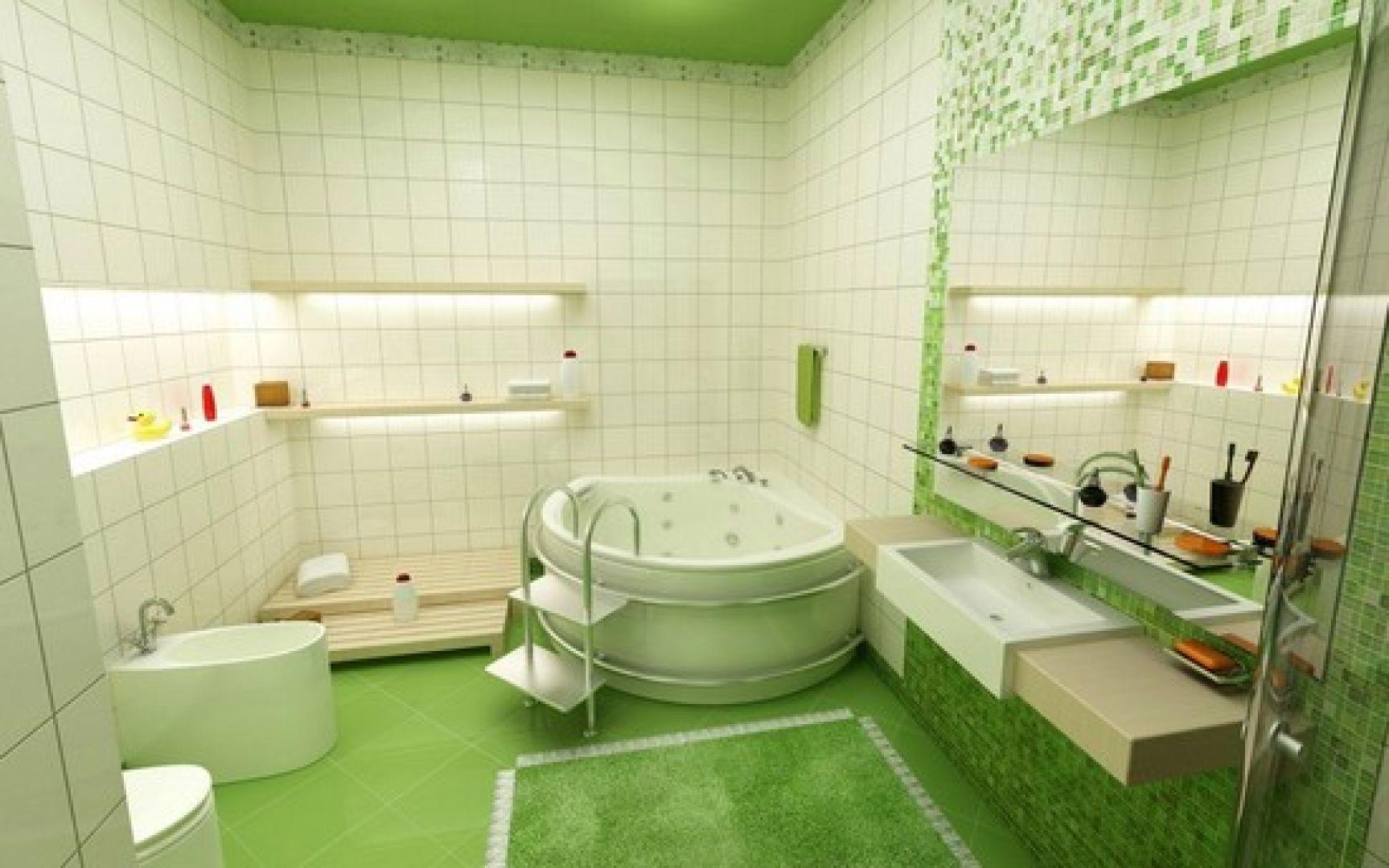 Gạch lát nền nhà tắm - gạch màu xanh nổi bật
