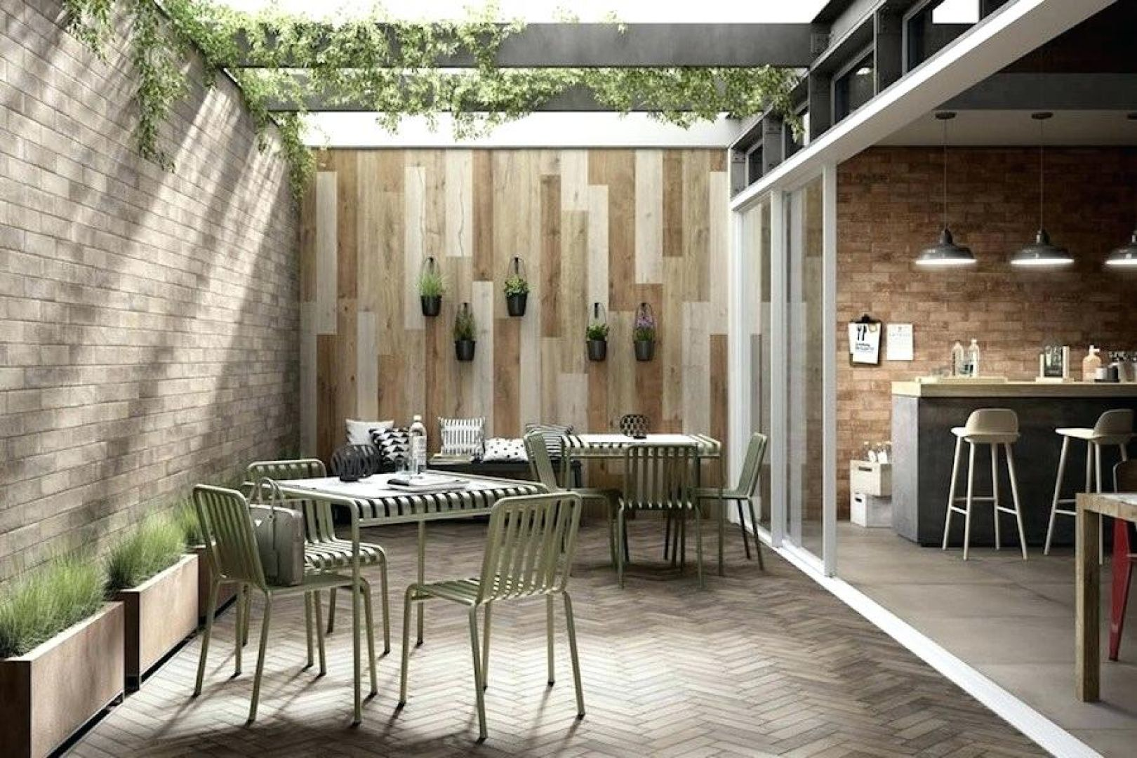gạch ốp tường ngoài trời - giả gỗ