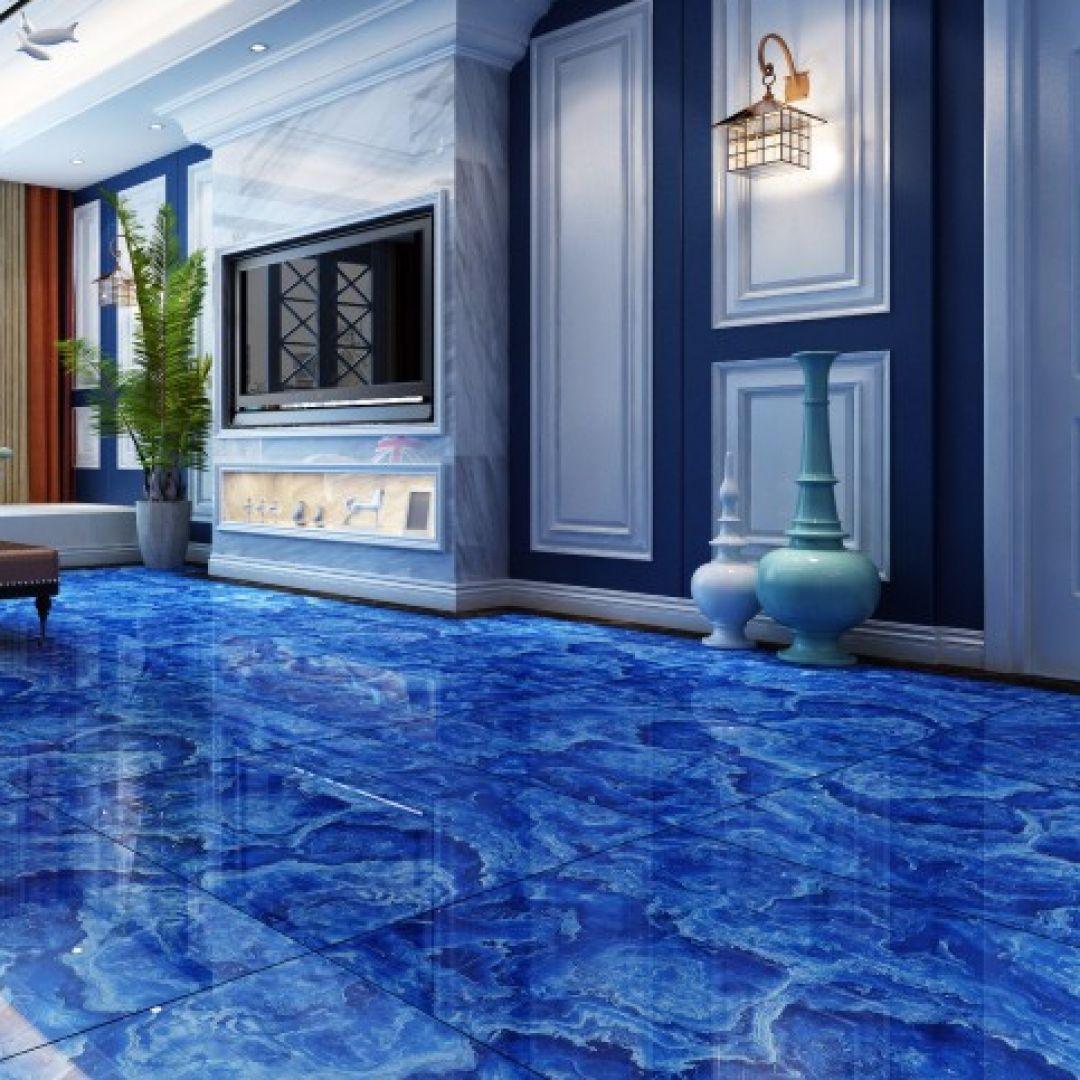 Gạch giả đá marble màu xanh dương